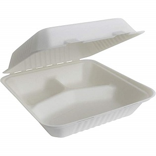 Biodegradable and Compostable Clam Shell Bagasse Food Container 3 way cut