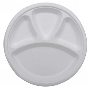 Biodegradable and Compostable Food Plate 4 way round
